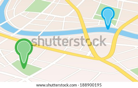 city map with river and pointers in perspective - vector