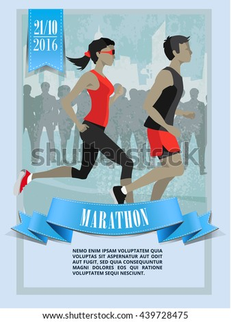 City marathon,Running people characters. City silhouette, people silhouette - stock vector
