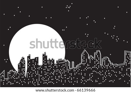 City moon night. The moon and stars under the night abstract city. Black and white vector illustration. - stock vector
