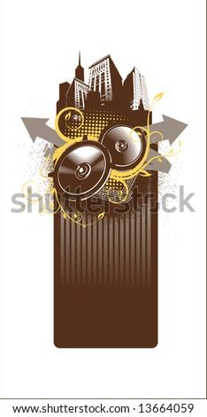 city music frame - stock vector