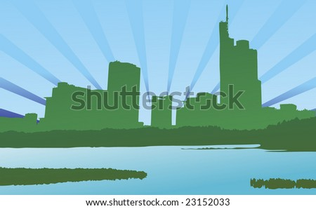City & Nature Ecology Green - stock vector