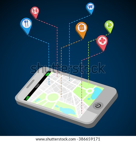 City navigation on your phone, flat design. Mobile gps navigation on mobile phone with map and pin. Pin icons with park, WC, hotel, hospital, shop, cafe. Vector illustration.