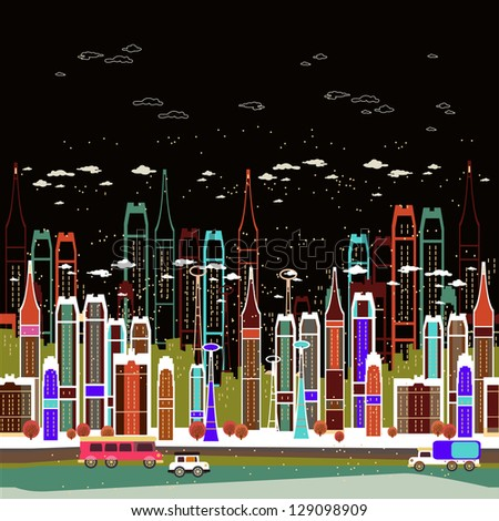 City night landscape - stock vector