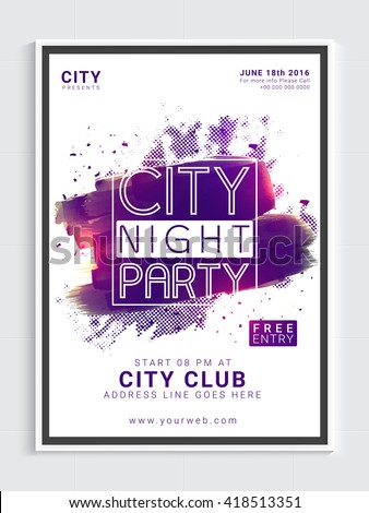 City Night Party Template, Dance Party Flyer, Night Party Banner or Club Invitation with glossy abstract design. - stock vector