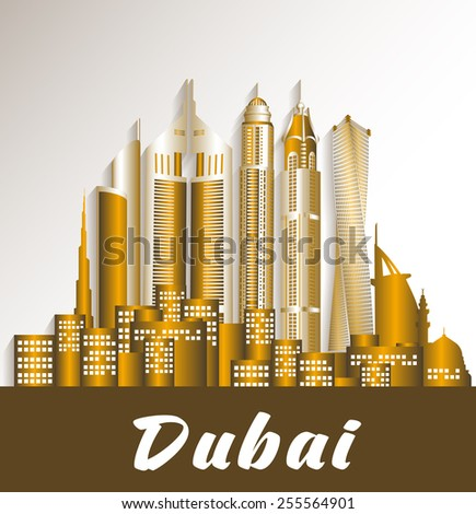 City of Dubai UAE Famous Buildings. Editable Vector Illustration - stock vector