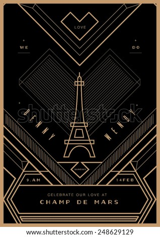 City of love Wedding invitation/ Valentines Day proposal card/ art deco - stock vector
