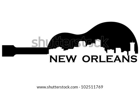 City of New Orleans high-rise buildings skyline with guitar