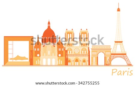 City of Paris panorama, world famous places of France. - stock vector