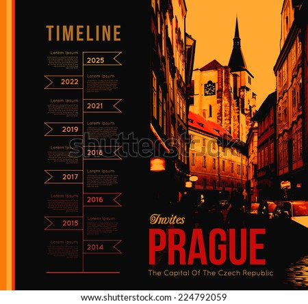 City of Prague. Vector illustration with the timeline design - stock vector