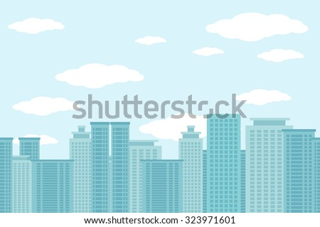 City of skyscrapers horizontal seamless pattern. Architecture urban building, structure house cityscape, vector illustration - stock vector