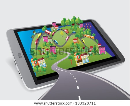 City of tablet - stock vector