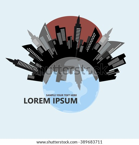 City on a globe vector illustration. Can be use for logo.