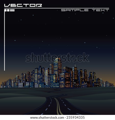 City on the Horizon. Urban Road to Megalopolis - stock vector