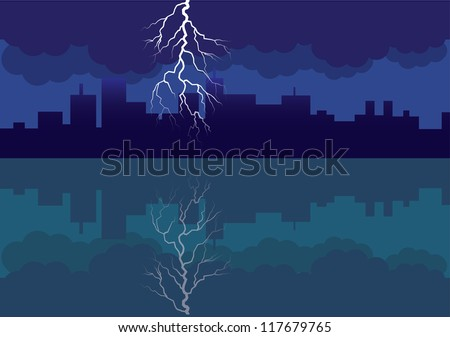 city panorama picture with comming storm and flash in the sky - illustration - stock vector
