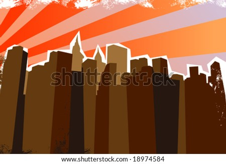 City panorama. Vector illustration. - stock vector