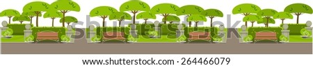 city park on the horizontal bar with benches and trees on a white background - stock vector
