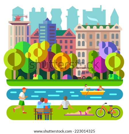 City Park. Recreation, leisure, entertainment. People and nature. Vector flat illustration - stock vector