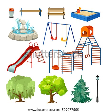 City park set with green trees, benches and childrens playground isolated vector illustration