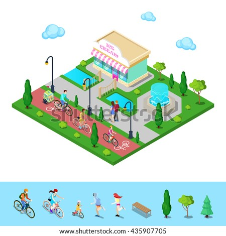 City Park with Bicycle Path. Family Riding on the Bicycles. Active People. Vector illustration - stock vector