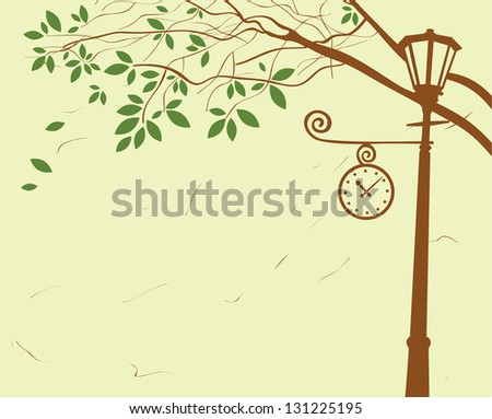 city ??park with lantern and clock under a tree - stock vector