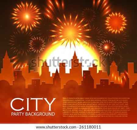 City party with spotlights & fireworks.  Vector illustration - stock vector
