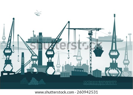 City port illustration - stock vector