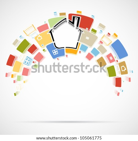 city real estate rainbow vector format background - stock vector