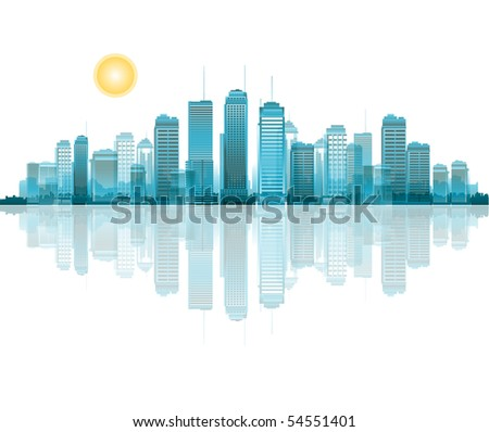 City reflection - stock vector