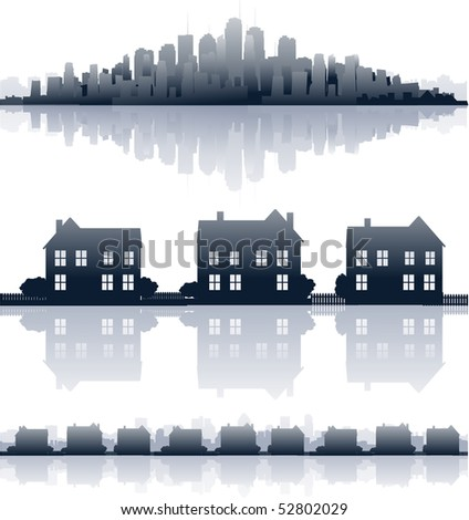 City reflections - stock vector