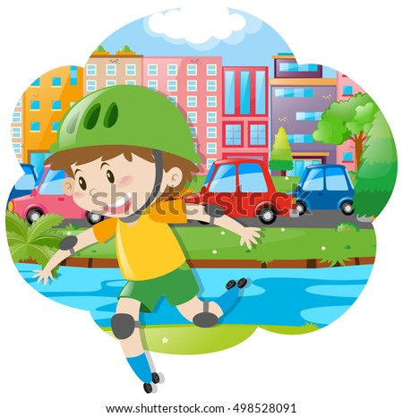 City scene with boy rollerskating illustration