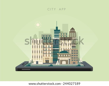 city scenery app concept in flat design style - stock vector
