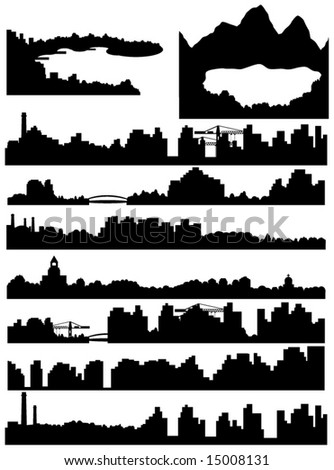 City, sea and lake skyline illustration
