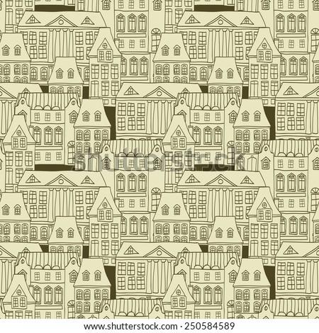 City seamless pattern  - stock vector