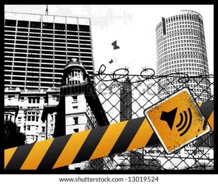 City Sign Vector Illustration - stock vector