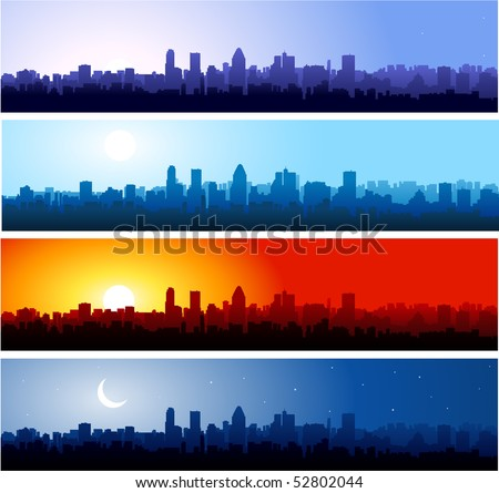 City silhouette at different time of the day - stock vector