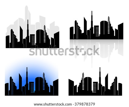 city silhouette from skyscrapers