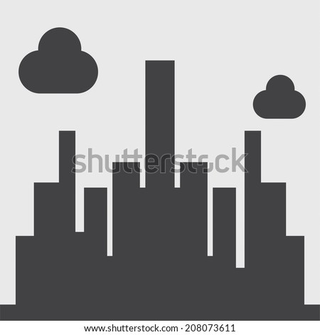 city silhouette icon - stock vector