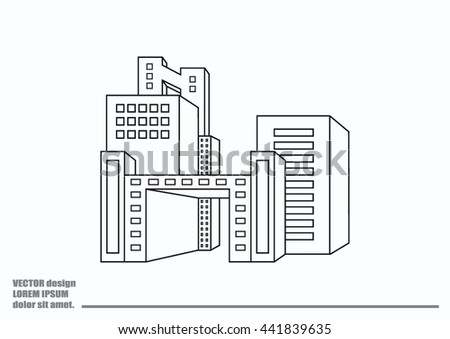City silhouette icon. Vector Illustration. logo City landscape. - stock vector