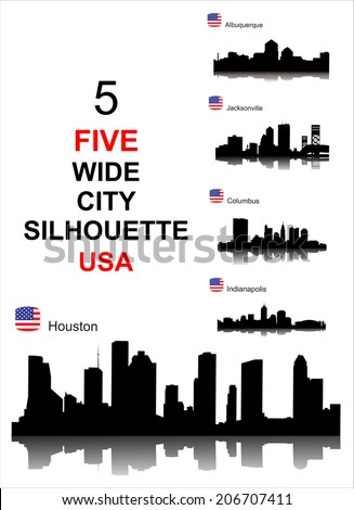City silhouettes of the most popular cities of the USA. Vector. - stock vector