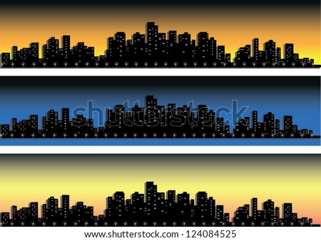 city silhouettes on the background of sunrise, sunset and night