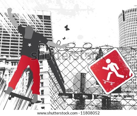 City Skater Sign - stock vector