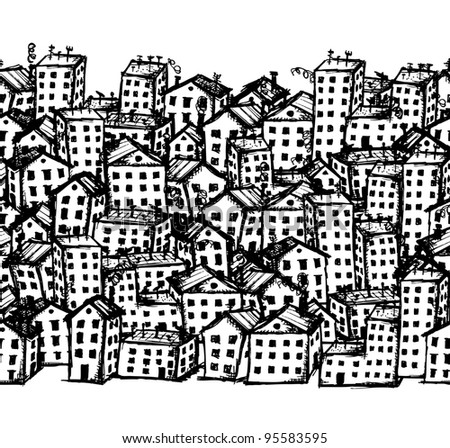 City sketch, seamless background for your design - stock vector