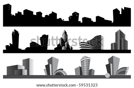 City skyline and urban icons