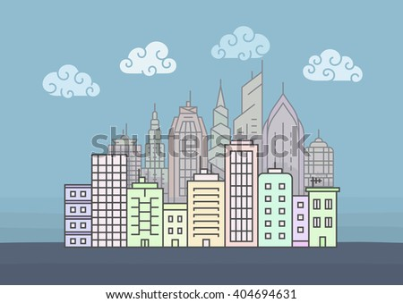 City skyline at morning. Town buildings vector illustration - stock vector