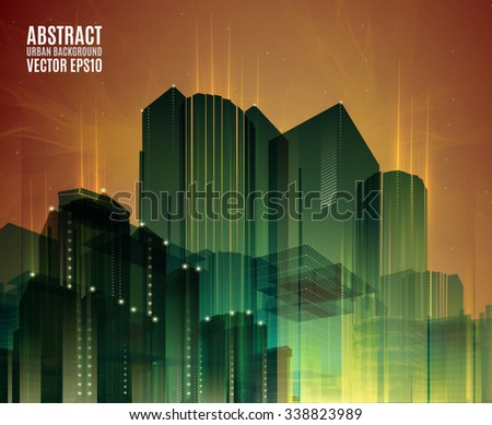 City skyline at night. Graphical urban cityscape - stock vector