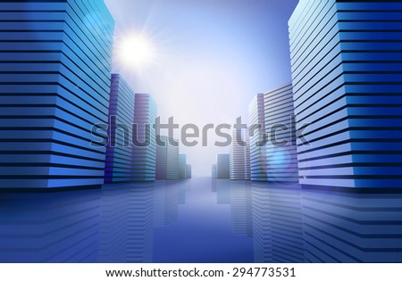 City skyline at sunlight. Vector illustration - stock vector