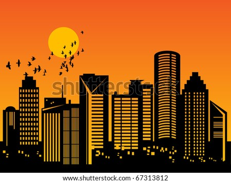 City skyline at sunset, vector illustration - stock vector