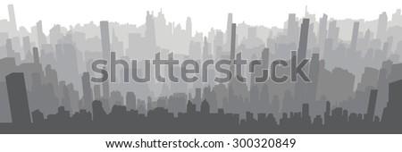 City skyline background simple decorative illustration grey - stock vector