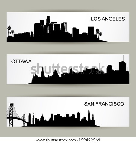 City skyline banners - vector illustration - stock vector