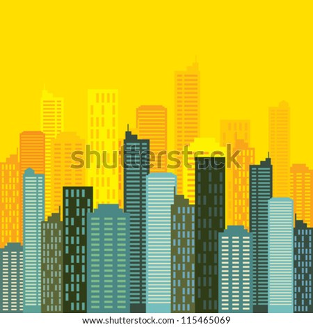 city skyline buildings vector - stock vector